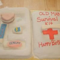 "Old Man Survival Kit This is a birthday cake for my FIL. I thought it would be funny to put everything an ""old"" man might need to live. LOL It is..."