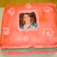 "Photo Album I did this cake for my daughter's 11th birthday. It is 6"" square cakes, stacked, covered with fondant and airbrushed."