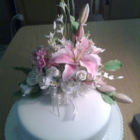 Top Cake Covered With Sugarpaste Flowers