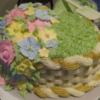 Course 2 Final Cake Royal Icing flowers. Buttercream basket weave and grass.