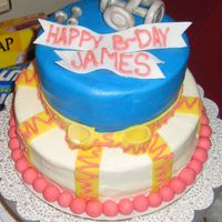 "Weightlifting B-Day Cake Buttercream with fondant stripes and decorations. First cake I got paid to do. 8"" and 6"". The man is a weightlifting instructor..."