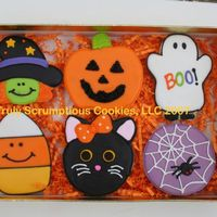 "Halloween Cookies  These cookies are about 2.5 - 3"". All new designs for 2007. They are a vanilla sugar cookie, outlined with royal icing and then filled..."