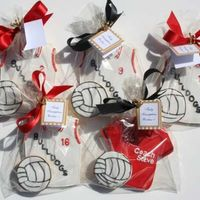 Sports Jerseys  A special order for a group of 8th grade girls playing in a tournament. The volleyball is attached to the cookie so it didn't shift...