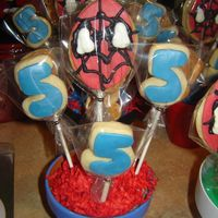 "Spider Man Number 5 Cookies  Sugar Cookies with fondant and royal icing. Spider man and the number ""5"". These were for my son's 5th birthday party, they..."