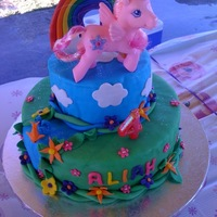 My Little Pony   This is decoarted in fondant. I was thrilled to make this for my daughter because I played with MLPs as a child!!