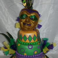 Mardi Gras! This was for my great niece's 16th birthday party. It was a Mardi Gras themed party. The bottom tier was white cake with chocolate...