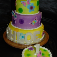 First Birthday With Smash Cake! The bottom tier and the Smash Cake are chocolate with buttercream, the other two tiers are white cake with buttercream. The 3 tier is...