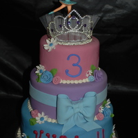 "Happy Birthday Kylie!  This is a 10"", 8"" and 6"" white with BC, covered in MMF, all decorations are MMF except the tiara and ballerina. I love the..."