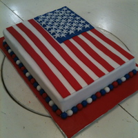 American Flag Cake Chocolate cake with mousse filling covered in fondant with fondant decorations. Thanks for all the inspiration in the galleries, especially...