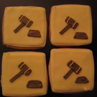 Gavel Law cookies I made to go with the scales of Justice cookies for my cousins acceptance to Law school party.