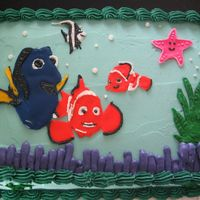 Nemo Finding Nemo birthday cake. I used Royal Icing for the characters and plaved them on top just before pick up.