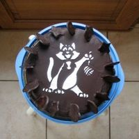 Cat Cake Pattern Here is a very simple way to decorate a cake. Put the pattern on the cake and put the shugar on it.