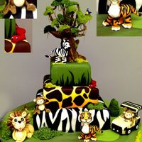 Go Jungle!!   An Amazing and Fun Jungle Cake, fill with sugar animals, it will be a unique mastepiece in your birthday!!!