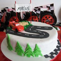 Cars All fondant except small red car.