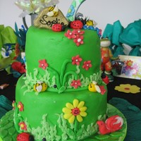 Garden Chocolate cake, caramel filling. Covered in fondant, all figures in fondant with cmc. For my daughter's 7th birthday, she wanted a...