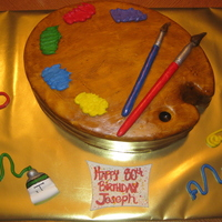 Artist Palette Cake This is a cake for a friend's father's 80th birthday who has been an artist all his life. oval pan, covered in fondant, scratched...
