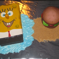 Spongebob And Krabby Pattie   Spongebob and krabby patty cake! airbrushed color and lots of fun! thanks for looking!