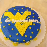 Wvu Cake This is the first cake I did on my own after my first round of decorating classes. The WVU theme was a request from my husband and I'm...