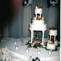 Jo Ann's Wedding Cake Large cake with fresh flowers and a fountain.