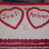 Wedding Shower Hearts Doves Wedding Bands Cake This is a 1/2 sheet cake.....iced in White , then trimmed in RED....which was almost Impossible for me to get colored RED.... There are...