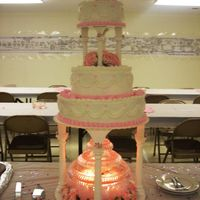 3 Tier Roses And Swags Wedding Cake