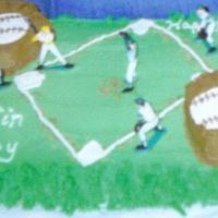 Baseball Field Birthday Cake I made this one iced in Green, and the edges I trimmed with the Grass Tip... then sprinkled soem Brown sugar on the field around the bases...