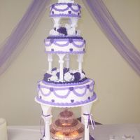 Purple Hearts & Swags Wedding Cake W/ Fountain