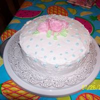 Final Cake, Wilton Course I  This was my final cake. I didn't take my time and rushed through the dots, and didn't put on a border. I couldn't get the...