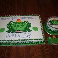 Frog Birthday Cake With Smash Cake  White/chocolate cake with all buttercream frosting. This was also my first smash cake. The design was based on the invitation shown in the...
