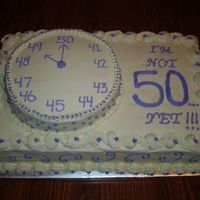 "49Th Birthday  Cake for 49th Birthday party. The theme is ""I'm not 50....yet!!!"" The small hand on the ""clock"" is on the number..."