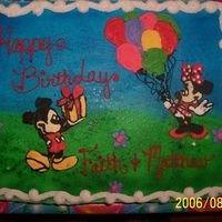 Mickey & Minnie Birthday  Chocolate cake w/BC & BC Frozen Transfer. I learned quite a bit with this one. Mainly 1-Don't airbursh on cold icing, it causes...