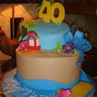 April's 40 A beach themed cake for a friend who is turned 40. Her husband suprised her with tickets to South Beach, FL.