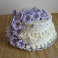 Brothers Anniversary Cake white chocolate cake with butter cream icing, lavender royal icing petunias