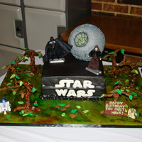 Star Wars Birthday Cake This is my DS's 9th birthday cake. It is a chocolate cake with Sionann's Mocha Frappuccino Frosting. The Death Star is RKT's...