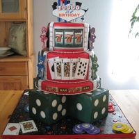 21St Birthday Las Vegas Square & round cake dummies covered in fondant. Fondant covered in edible images (varying accents of luster dust, royal icing, and gel...