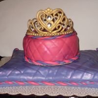 Sweet Sixteen Cake Gumpaste tiara painted with gold luster dust. The birthday girl favorite colors are purple and hot pink and the cake is a strawberry wasc...