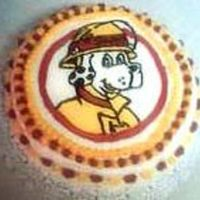 Sparky Mascot for my boyfriend's civic organization.Vanilla cake with pistachio filling. FBCT -- my first!
