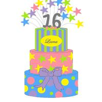 3 Tier Round Stripes, Stars & Dots Designed in Paint... Butter cream cake with Fondant decorations...