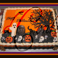 Halloween Graveyard 1/2 sheet Cotton Candy Cake marbeled purple & orange with cotton candy buttercream. Decorations made of fondant. All 100% edible... TFL...