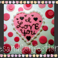 "I Love You Heart And Dots 9"" square Cotton Candy Cake pink & whit swirl with Cotton Candy Buttercream... Heart and dots made of fondant..."