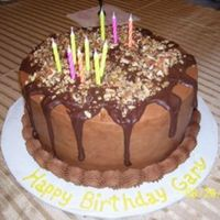 Chocolate Butter/genache Drip White Cake with chocolate genache drop...has been a popular request!