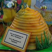 Beehive Cake This was my son's irst birthday cake from last week. The grass is made of gumpaste, the cake is buttercream and buttercream filling. I...