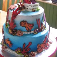 Ocean Cake This cake was done in buttercream with white chocolate decorations, inspired by the Whimsical Bakehouse. The seashells are gumpaste with...