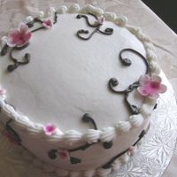 Cherry Blossom Cake This was a cake with a cherry blossom design for my MIL who loves these colors together.