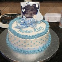 Polka Dot Baby Shower Cake With Photo Of Baby  The host wanted to incorporate lots of photos at the party so she asked if we could use a sonogram photo of the baby on the cake. The cake...