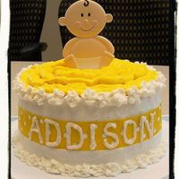 "Lemon Baby Shower Cake All BC icing, Wilton topper, 3 layers 9"" Lemon/White Cake & Lemon filling."