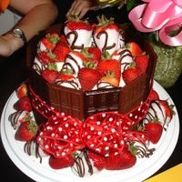 22Nd Birthday: Chocolate Covered Strawberry Hershey Cake  This has become a family favorite. Chocolate Covered Strawberries on top of a Mandarin Orange Cake surrounded by Hershey bars. Icing is a...