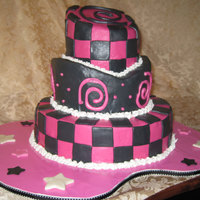 Black And Pink Birthday Cake I was really happy with this one! This is simply a chocolate cake with chocolate ganache, MMF, cherry flavored royal icing piping, and...