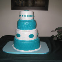 Teal Cake For Pastors Wife I made this cake for a birthday surprise for our pastors wife. It was banana cake and WASC with mousse fillings and cream cheese icing,...