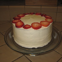 Plain O' Practice Cake I made my first WASC last night. Filled it with bavarian cream and almond buttercream icing. I added strawberry slices with sugar sprinkled...